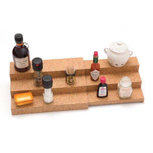 Lipper International Cork Expandable Triple Step Spice Shelf Cork
