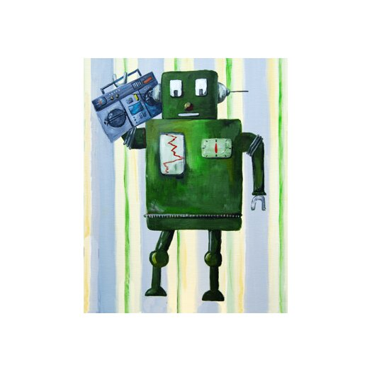 CiCi Art Factory Patchwork Donka Loves 80s Music Robot Canvas Art
