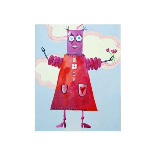 Cici Art Factory Zorba Loves Flowers Robot Canvas Art
