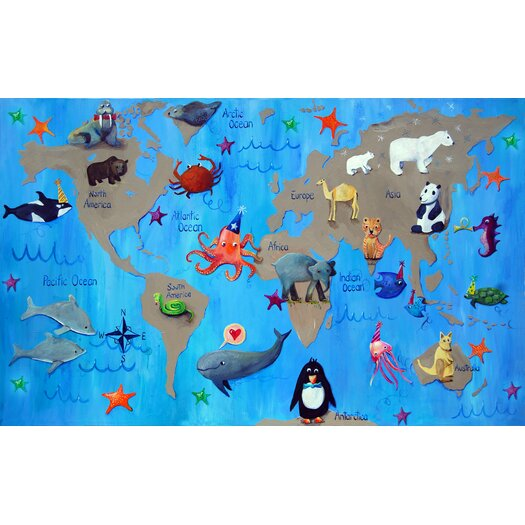 """CiCi Art Factory Wit & Whimsy 22"""" My World Giclee Canvas Art"""