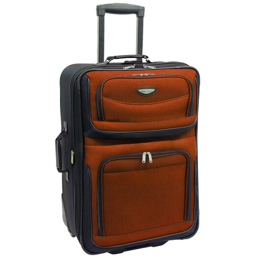 """Traveler's Choice Amsterdam 25"""" Expandable Rolling Suitcase in Orange"""