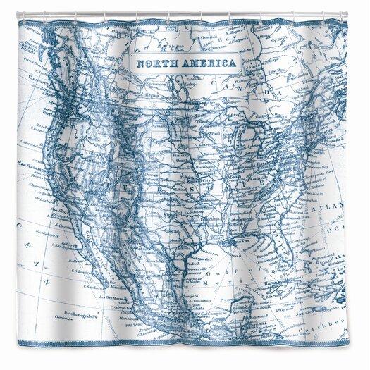 Kikkerland Vintage Map Shower Curtain