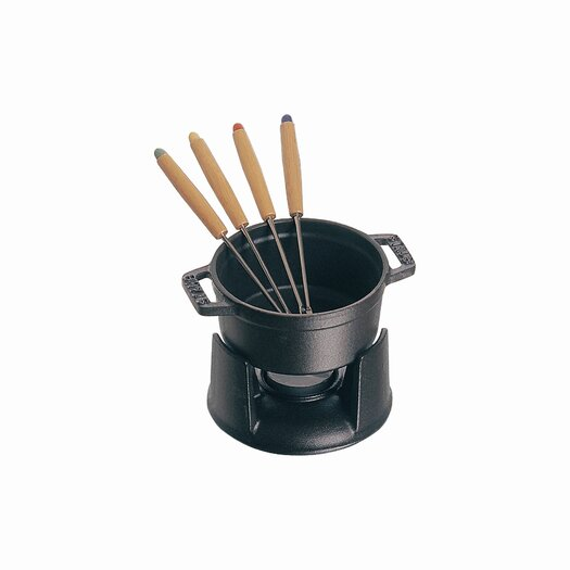 Staub Mini Chocolate 0.25 qt. Fondue Set in Black Matte