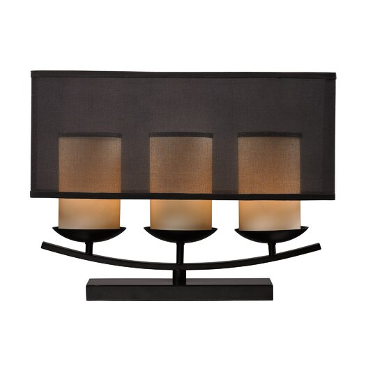 """Dimond Lighting Bakersfield 14"""" H Table Lamp with Drum Shade"""