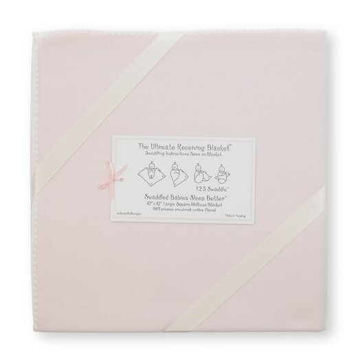 Ultimate Receiving Blanket� in Solid Pastel with Ivory Trim
