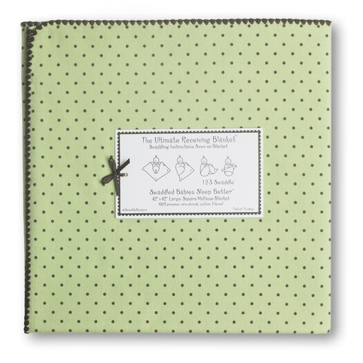 Ultimate Receiving Blanket� in Pastel with Brown Polka Dots