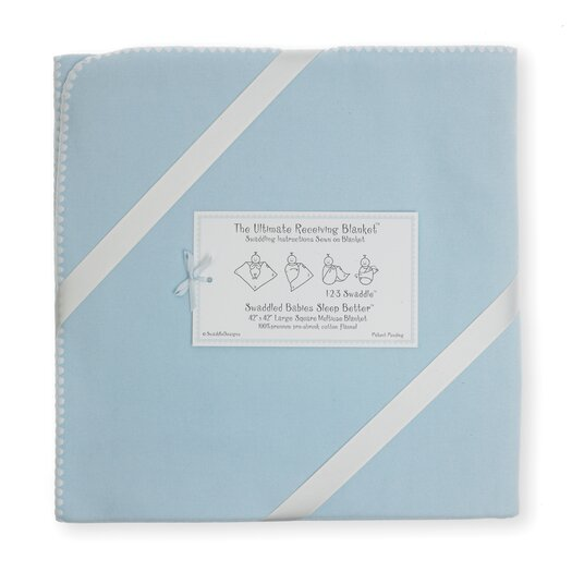 Swaddle Designs Ultimate Receiving Blanket® in Solid Pastel with Ivory Trim