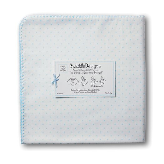 Swaddle Designs Ultimate Receiving Blanket® in Pastel with Polka Dots and Pastel Trim