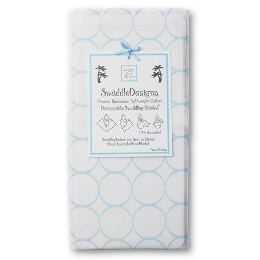 Swaddle Designs Marquisette Swaddling Blanket in Mod Circles on White