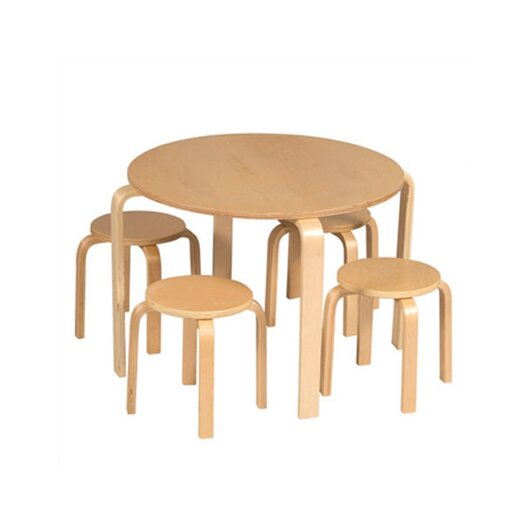 Guidecraft Natural Nordic Kids' 5 Piece Table and Stool Set