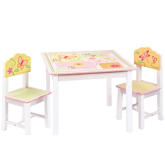 Guidecraft Gleeful Bugs Kids 3 Piece Rectangle Table and Chair Set