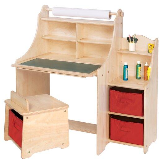 """Guidecraft Art Equipment 36"""" W Art Desk Set with Storage"""