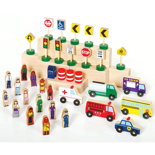 Guidecraft Block Play Community and Roadway Building Set