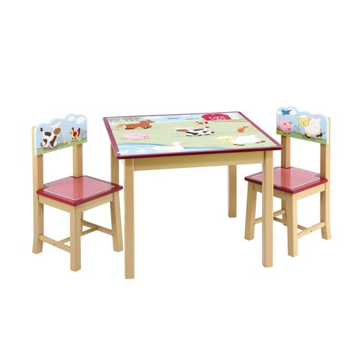 Guidecraft Farm Friends Kids 3 Piece Table and Chair Set