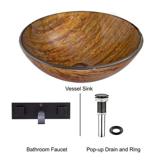 Vigo Amber Sunset Glass Vessel Bathroom Sink with Titus Wall Mount Faucet