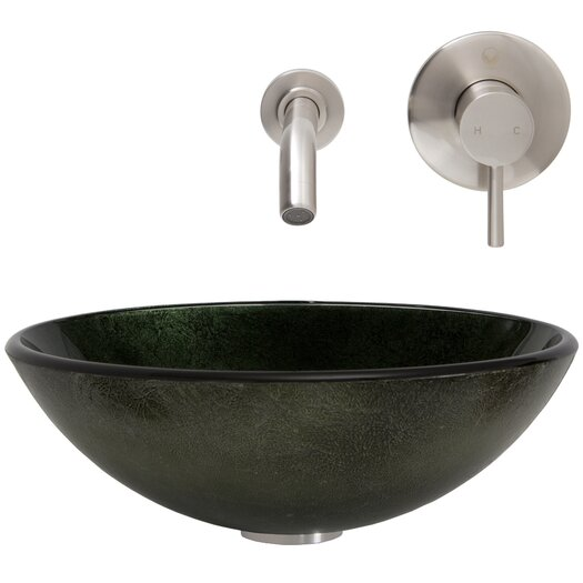 Vigo Glass Vessel Bathroom Sink with Olus Wall Mount Faucet