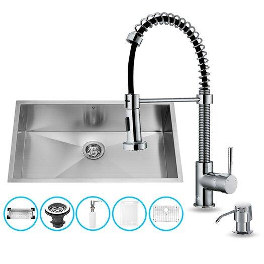 """Vigo 32"""" x 19"""" Undermount Kitchen Sink with Faucet, Colander, Grid, Strainer and Dispenser"""