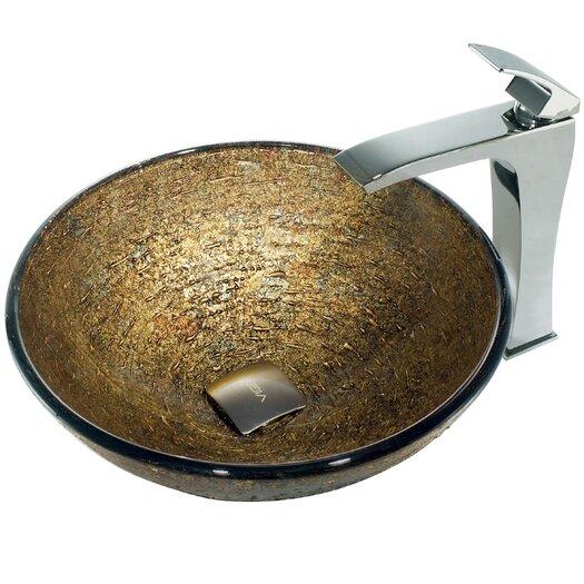 Vigo Glass Textured Bathroom Sink with Square-Edged Faucet