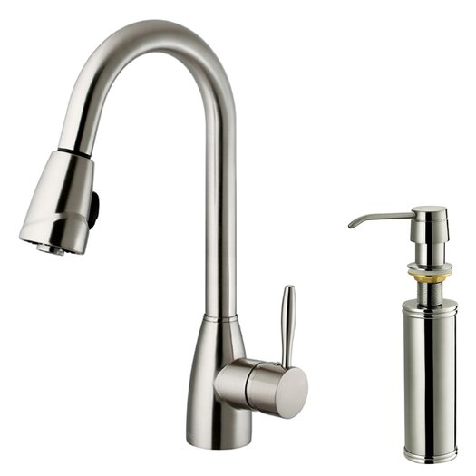 Vigo One Handle Single Hole Kitchen Faucet with Soap Dispenser and Pull-Out Spray