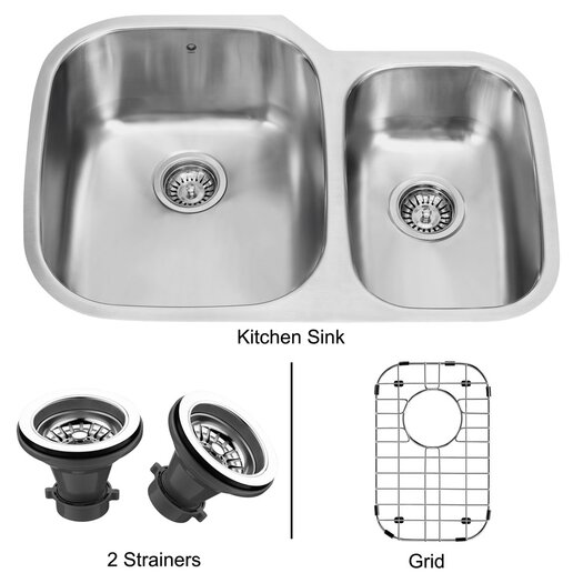 "Vigo 29.5"" x 20.75"" Double Bowl Undermount Kitchen Sink"