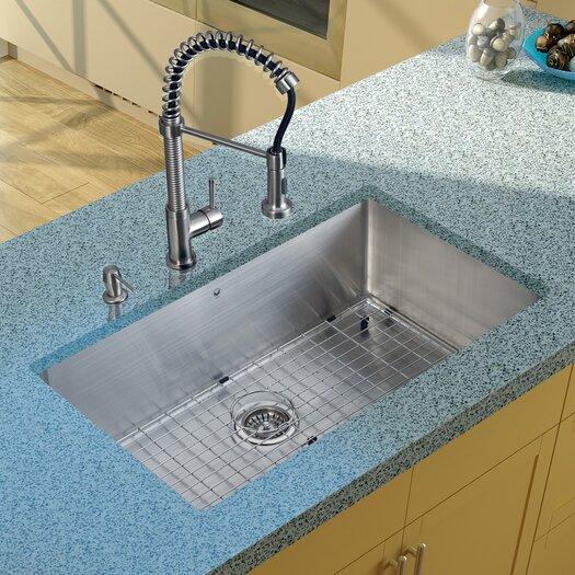 """Vigo 32"""" x 19"""" Undermount Kitchen Sink with Faucet, Grid, Strainer and Dispenser"""