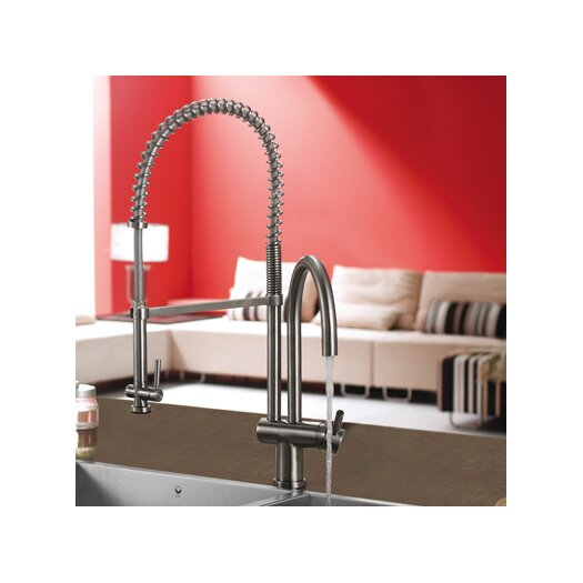 Vigo Single Handle Single Hole Pot Filler Kitchen Faucet with Pull-Down Spray