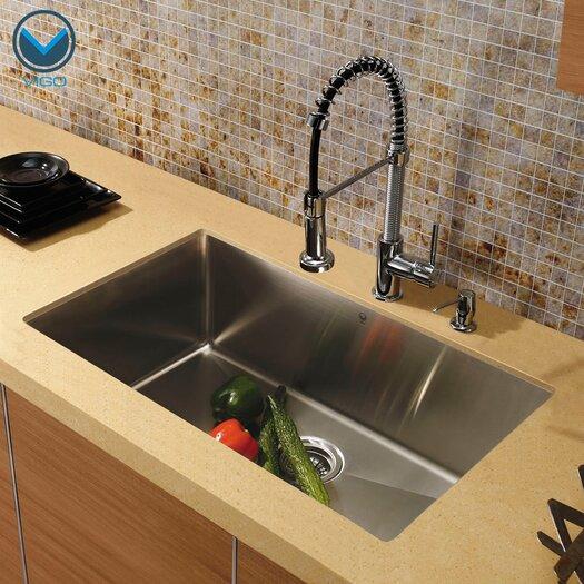 "Vigo 30"" x 19"" Undermount Single Bowl Kitchen Sink with Faucet"