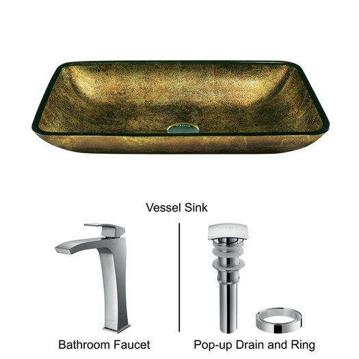 Vigo Rectangular Glass Bathroom Sink with Fountain Faucet
