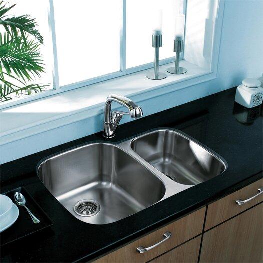 "Vigo 29.5"" x 20.75"" Double Bowl Undermount Kitchen Sink"