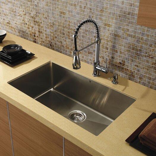 "Vigo 32"" x 19"" Super Single Bowl 15 Degree Radius Undermount Kitchen Sink"