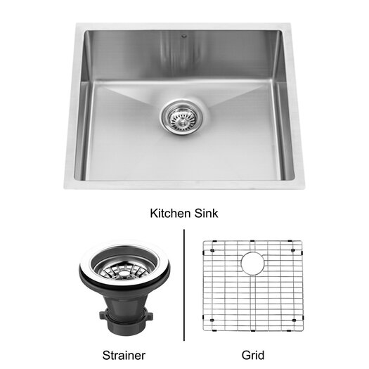 "Vigo 23"" x 20"" Single Bowl 16 Gauge Undermount Kitchen Sink"