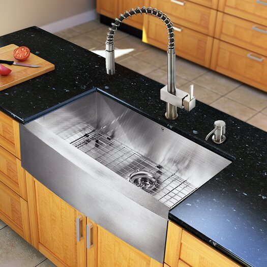 "Vigo All in One 30"" x 22.25"" Farmhouse Kitchen Sink and Faucet Set"