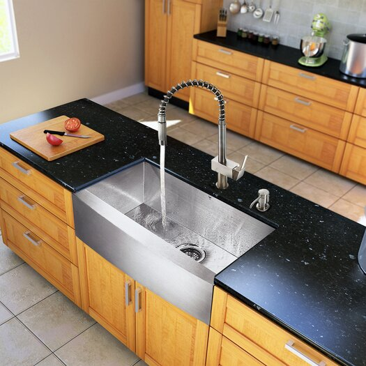 """Vigo All in One 30"""" x 22.25"""" Farmhouse Kitchen Sink and Faucet Set"""