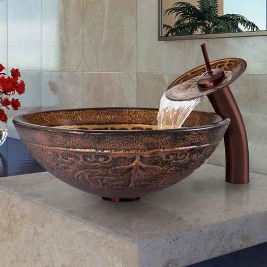 Vigo Golden Greek Bathroom Sink with Waterfall Faucet