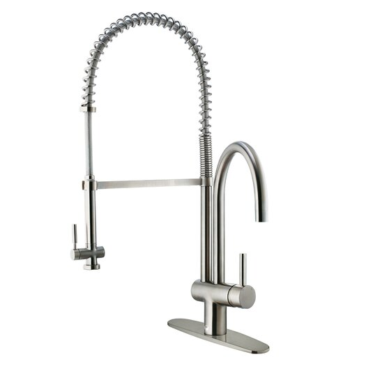 Vigo Single Handle Deck Mount Kitchen Faucet with Pull Down Spray and Deck Plate