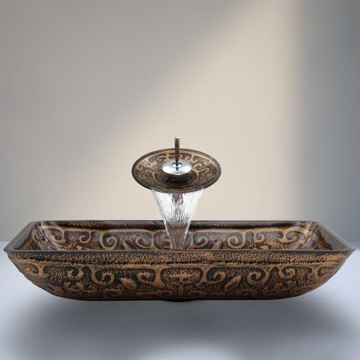 Vigo Golden Greek Glass Vessel Sink with Waterfall Faucet