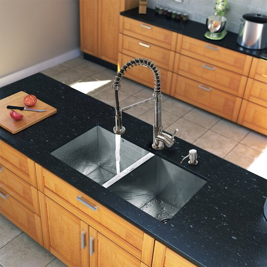 """Vigo 32"""" x 19"""" Zero Radius Double Bowl Kitchen Sink with Sprayer Faucet"""