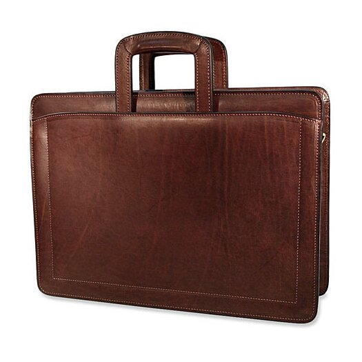 Jack Georges Belting Triple Gusset Leather Briefcase
