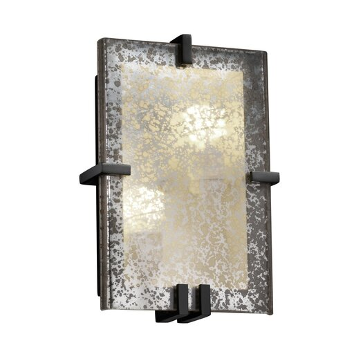 Justice Design Group Fusion Clips Rectangle 2 Light Wall Sconce