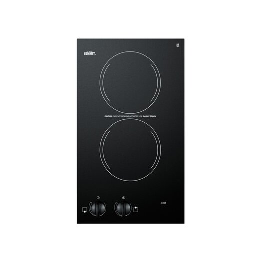 "Summit Appliance 12"" Two Burner Electric Cooktop in Black"