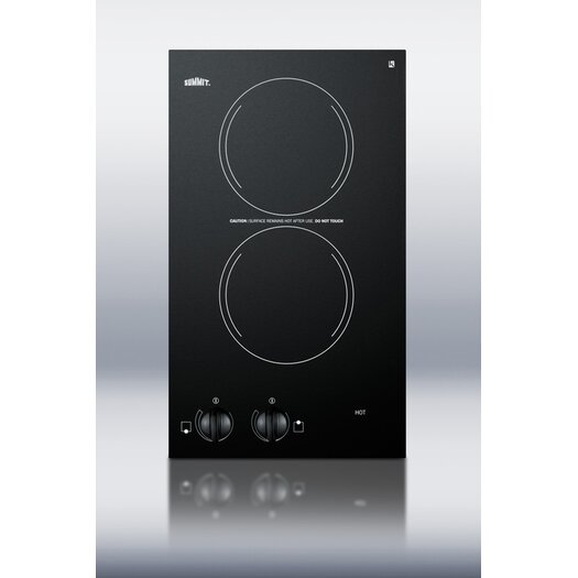 """Summit Appliance 12"""" Two Burner Electric Cooktop in Black"""