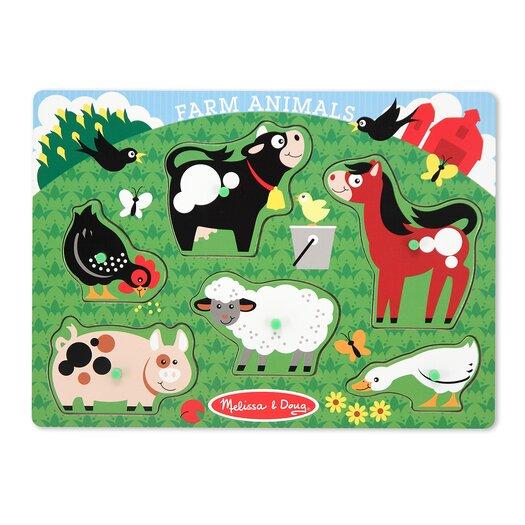 Melissa and Doug Farm Animals Peg Puzzle