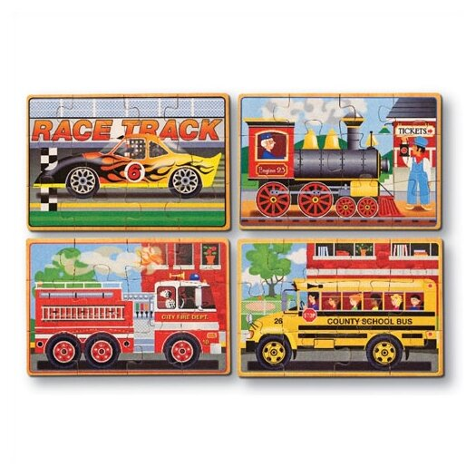 Melissa and Doug Vehicles in a Box Wooden Jigsaw Puzzle