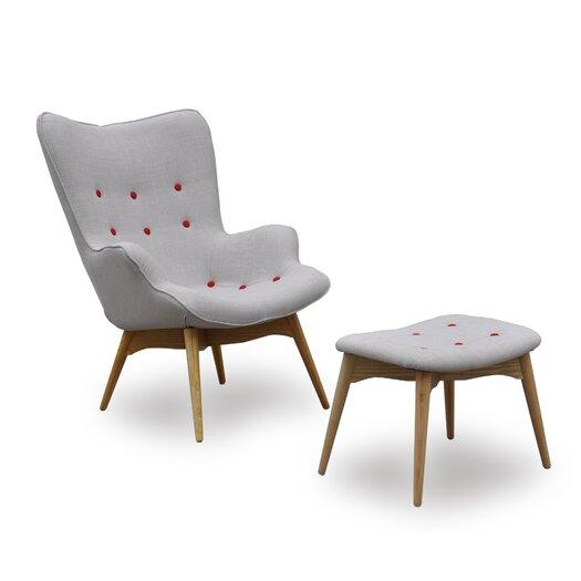 International Design USA Huggy Mid Century Chair & Ottoman Set