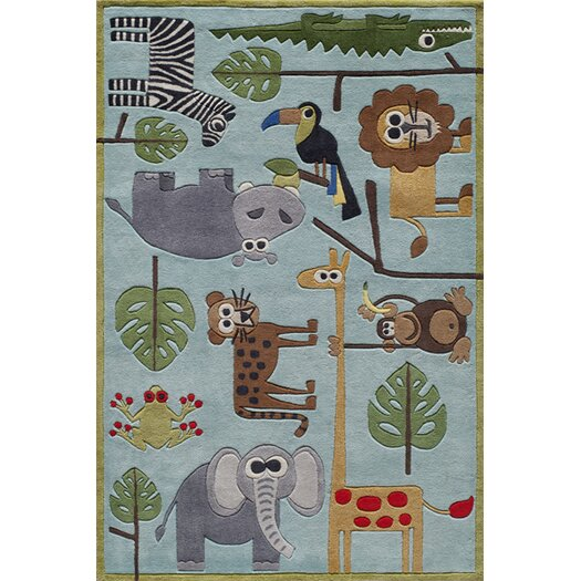 Momeni Lil' Mo Lil Mo Whimsy Blue Safari Kids Rug