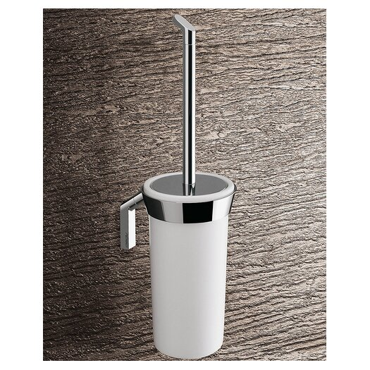 Gedy by Nameeks Karma Wall Mounted Toilet Brush Holder in Bright White and Chrome
