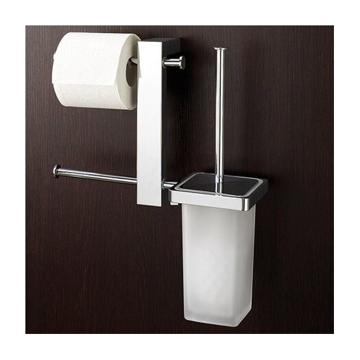 Gedy by Nameeks Bridge Wall Mounted Bathroom Butler with Double Toilet Paper Holder and Toilet Brush in Chrome
