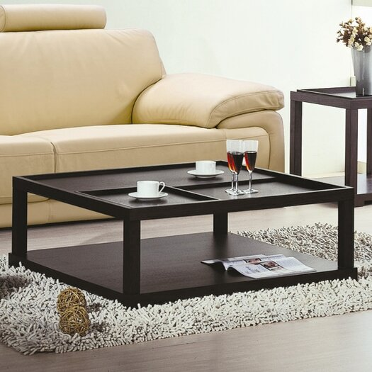 Beverly Hills Furniture Parson Coffee Table with Removable Tray