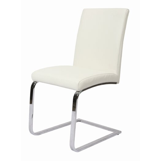 Pastel Furniture Monaco Side Chair in Chrome Upholstered in Ivory