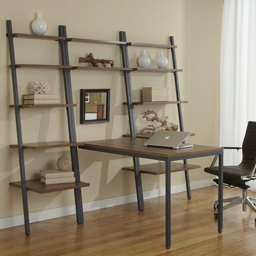 Jesper Office Parson Ladder Bookcases with Peninsula Desk